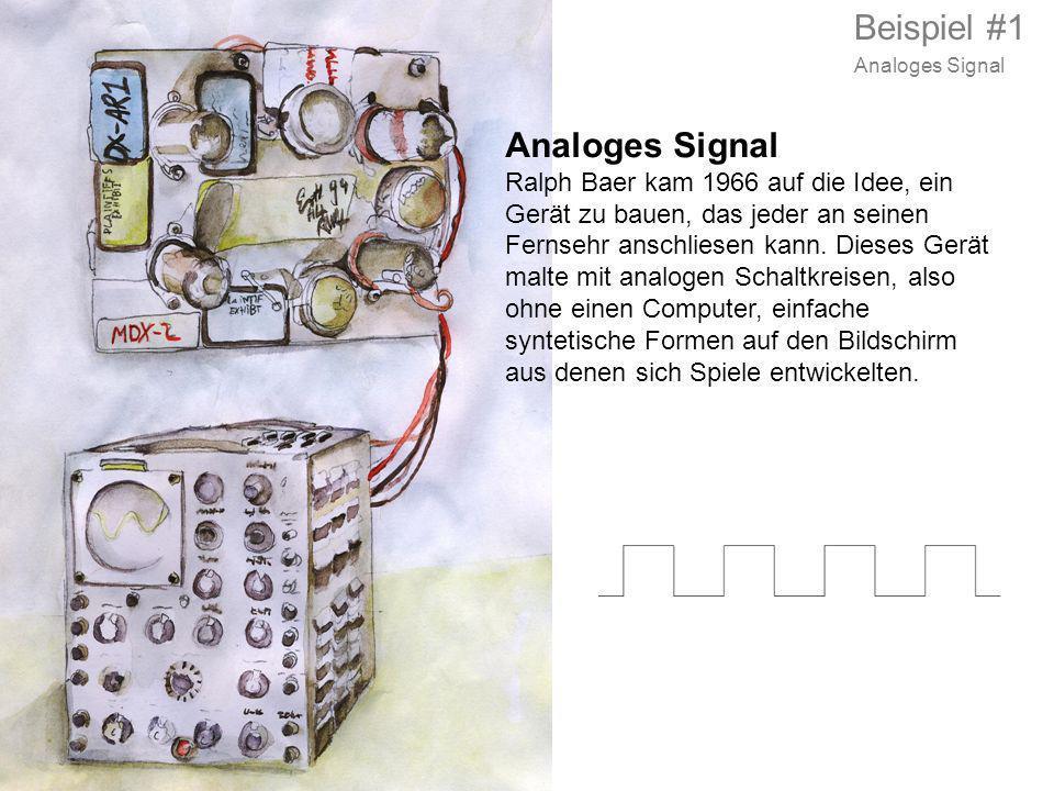 Analoges Signal Ralph Baer kam 1966 auf die Idee, ein Gerät zu bauen, das jeder an seinen Fernsehr anschliesen kann. Dieses Gerät malte mit analogen S