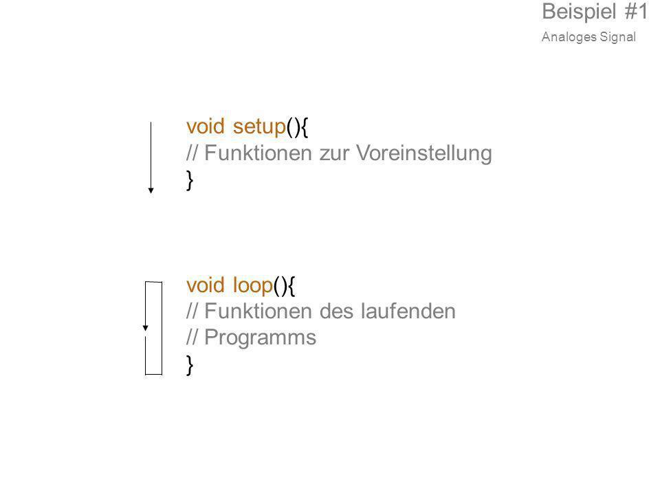 void setup(){ // Funktionen zur Voreinstellung } void loop(){ // Funktionen des laufenden // Programms } Beispiel #1 Analoges Signal