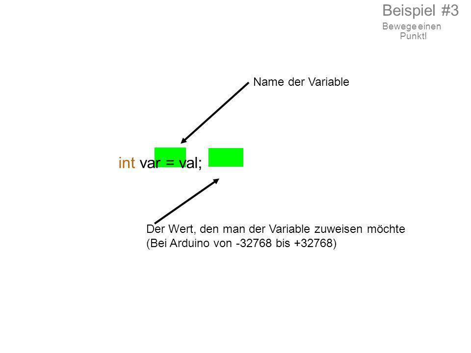 Name der Variable int var = val; Der Wert, den man der Variable zuweisen möchte (Bei Arduino von -32768 bis +32768) Beispiel #3 Bewege einen Punkt!