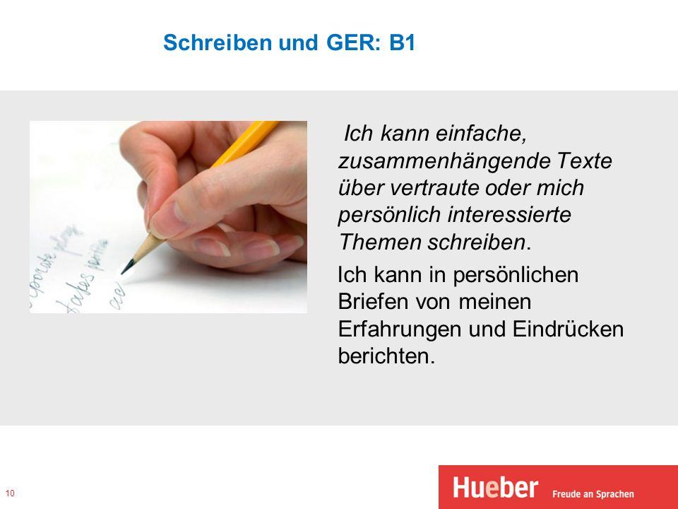 Schreiben und GER: B1 Ich kann einfache, zusammenhängende Texte über vertraute oder mich persönlich interessierte Themen schreiben. Ich kann in persön