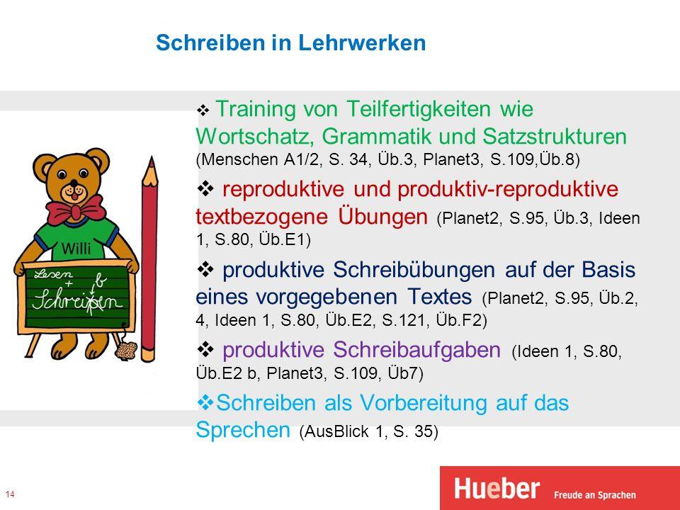 Schreiben in Lehrwerken Training von Teilfertigkeiten wie Wortschatz, Grammatik und Satzstrukturen (Menschen A1/2, S. 34, Üb.3, Planet3, S.109,Üb.8) r