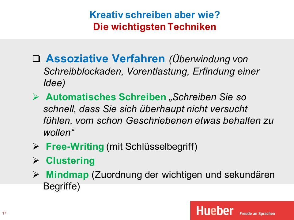 Kreativ schreiben aber wie? Die wichtigsten Techniken Assoziative Verfahren (Überwindung von Schreibblockaden, Vorentlastung, Erfindung einer Idee) Au