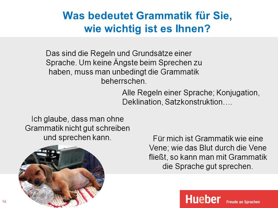 Was bedeutet Grammatik für Sie, wie wichtig ist es Ihnen? Das sind die Regeln und Grundsätze einer Sprache. Um keine Ängste beim Sprechen zu haben, mu