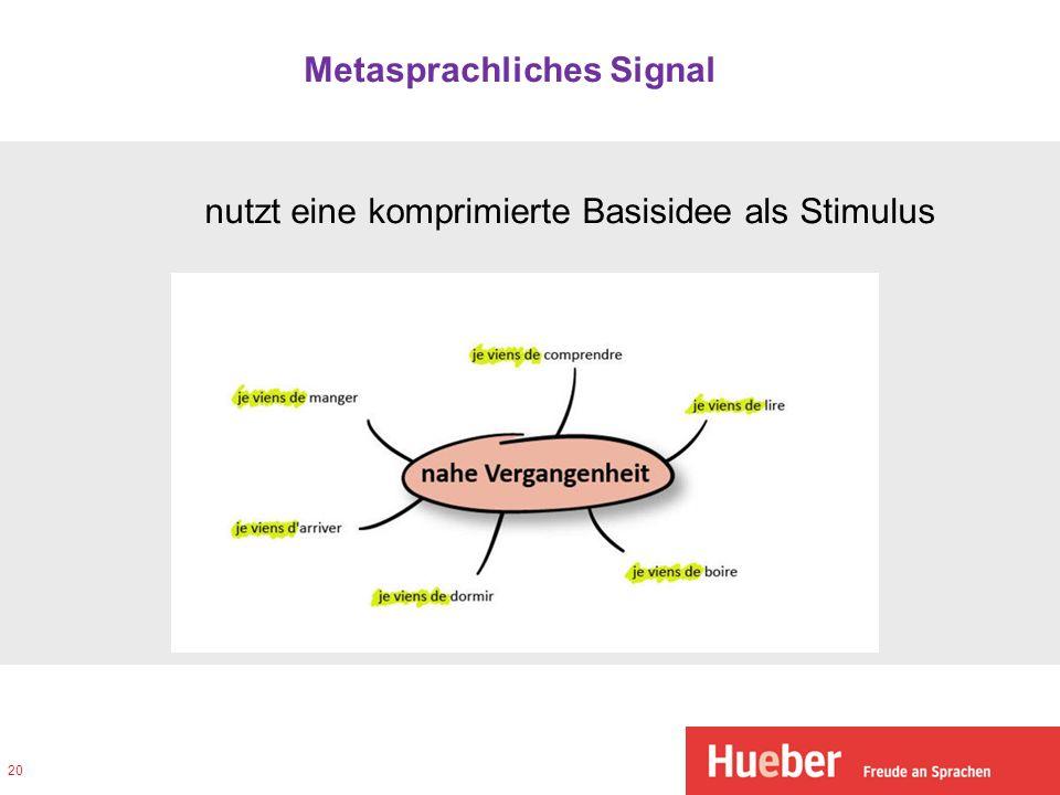Metasprachliches Signal nutzt eine komprimierte Basisidee als Stimulus 20