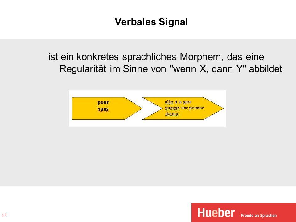 Verbales Signal ist ein konkretes sprachliches Morphem, das eine Regularität im Sinne von