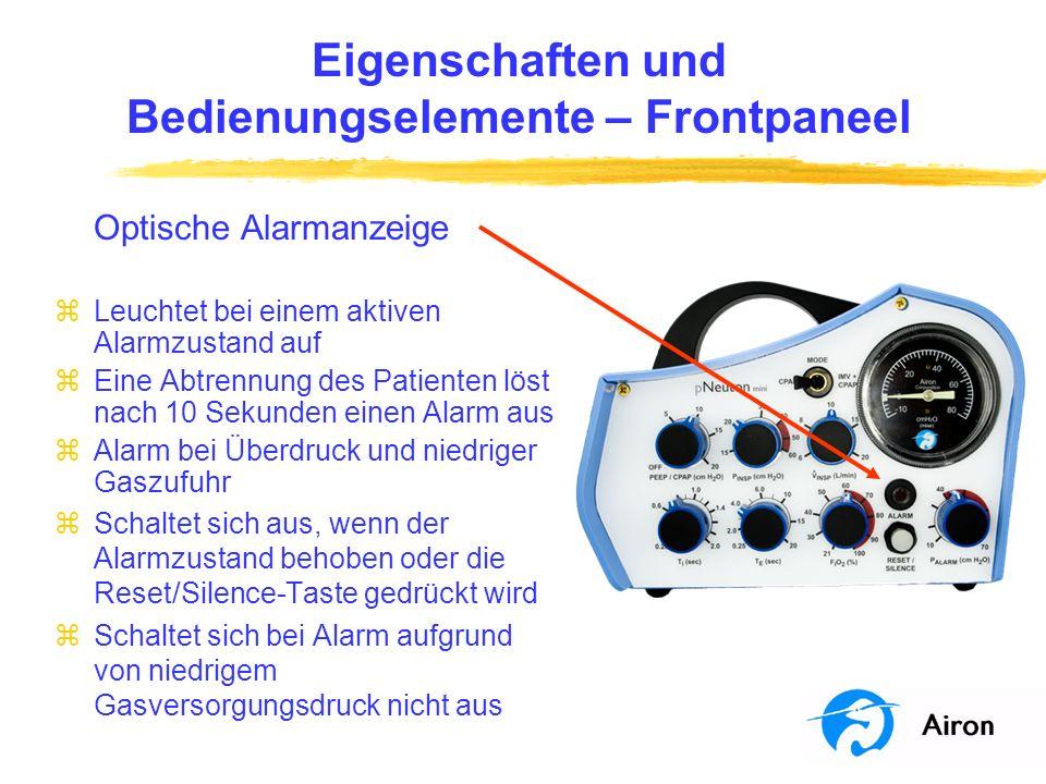 Eigenschaften und Bedienungselemente – Frontpaneel Optische Alarmanzeige zLeuchtet bei einem aktiven Alarmzustand auf zEine Abtrennung des Patienten l