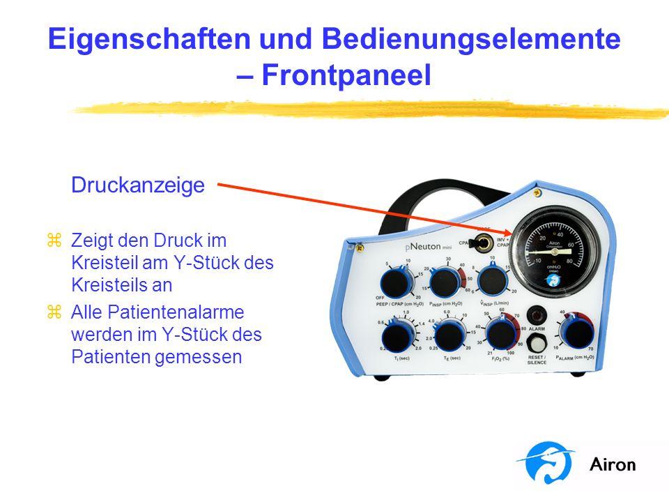 Eigenschaften und Bedienungselemente – Frontpaneel Druckanzeige zZeigt den Druck im Kreisteil am Y-Stück des Kreisteils an zAlle Patientenalarme werde