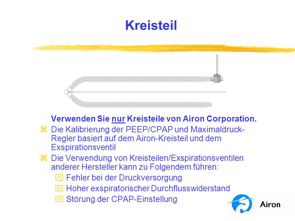 Kreisteil Verwenden Sie nur Kreisteile von Airon Corporation. zDie Kalibrierung der PEEP/CPAP und Maximaldruck- Regler basiert auf dem Airon-Kreisteil