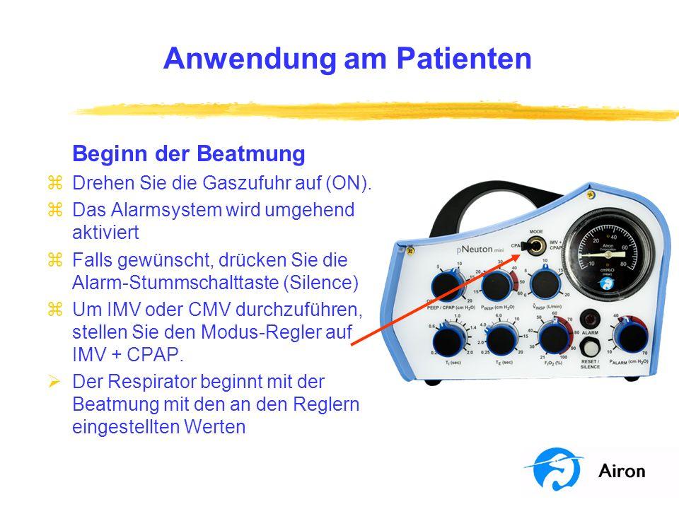 Anwendung am Patienten Beginn der Beatmung zDrehen Sie die Gaszufuhr auf (ON). zDas Alarmsystem wird umgehend aktiviert zFalls gewünscht, drücken Sie