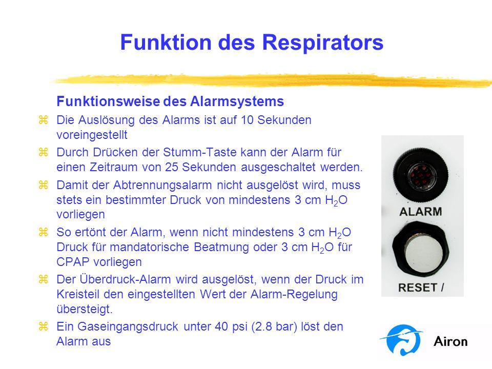 Funktion des Respirators Funktionsweise des Alarmsystems zDie Auslösung des Alarms ist auf 10 Sekunden voreingestellt zDurch Drücken der Stumm-Taste k