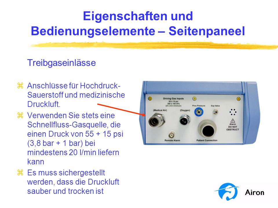 Eigenschaften und Bedienungselemente – Frontpaneel % Sauerstoff-Regler zAuswahl der gelieferten Sauerstoffkonzentration zwischen 21 und 100 % zBetrieb in beiden Modi zEinstellung der Sauerstoffkonzentration für den kontinuierlichen Fluss