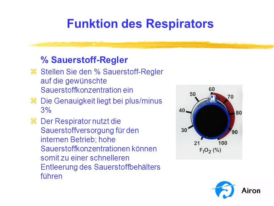 Funktion des Respirators % Sauerstoff-Regler zStellen Sie den % Sauerstoff-Regler auf die gewünschte Sauerstoffkonzentration ein zDie Genauigkeit lieg