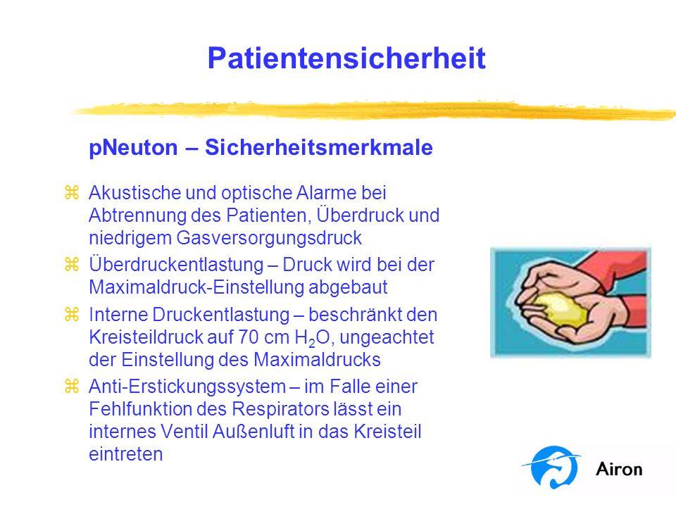 Patientensicherheit pNeuton – Sicherheitsmerkmale zAkustische und optische Alarme bei Abtrennung des Patienten, Überdruck und niedrigem Gasversorgungs