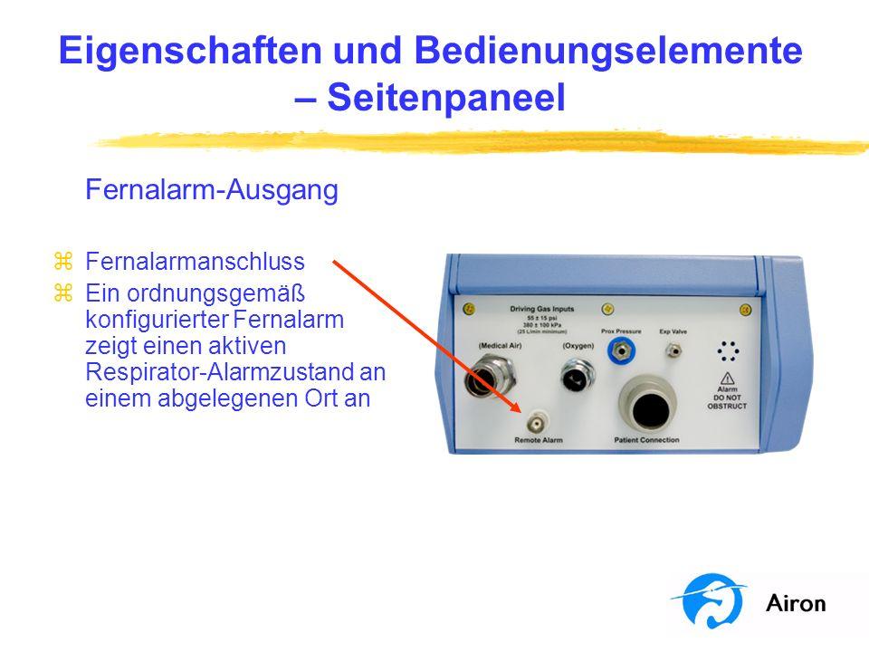 Anwendung am Patienten Erste Konfiguration zSchließen Sie das Airon- Kreisteil an den Respirator an zBringen Sie eine Prüflunge am Patientenanschluss des Kreisteils an zSchließen Sie einen Hochdruck-Sauerstoff- und Druckluftschlauch an der Seite des Respirators an zSchließen Sie diese Schläuche an die Gasversorgungen an