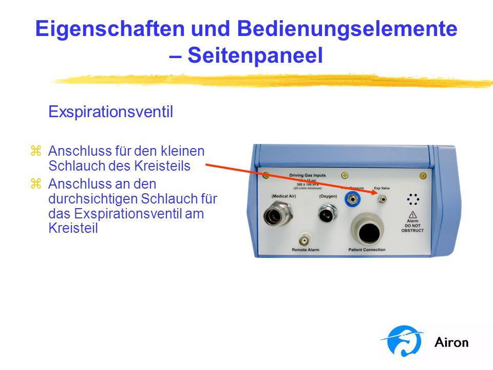 Eigenschaften und Bedienungselemente – Frontpaneel Druckanzeige zZeigt den Druck im Kreisteil am Y-Stück des Kreisteils an zAlle Patientenalarme werden im Y-Stück des Patienten gemessen