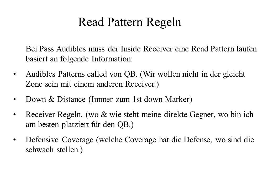 Read Pattern Regeln Bei Pass Audibles muss der Inside Receiver eine Read Pattern laufen basiert an folgende Information: Audibles Patterns called von