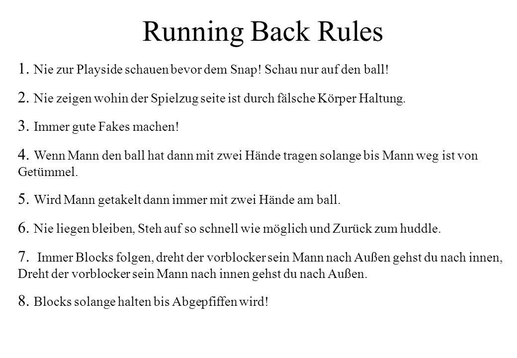 Running Back Rules 1. Nie zur Playside schauen bevor dem Snap! Schau nur auf den ball! 2. Nie zeigen wohin der Spielzug seite ist durch fälsche Körper