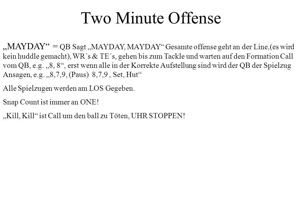 Two Minute Offense MAYDAY = QB Sagt MAYDAY, MAYDAY Gesamte offense geht an der Line,(es wird kein huddle gemacht), WR´s & TE´s, gehen bis zum Tackle u