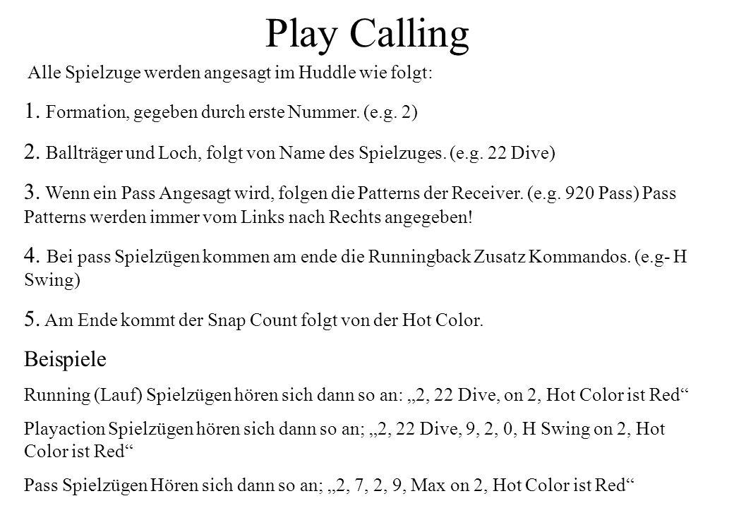 Play Calling Alle Spielzuge werden angesagt im Huddle wie folgt: 1. Formation, gegeben durch erste Nummer. (e.g. 2) 2. Ballträger und Loch, folgt von