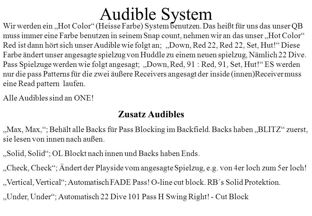 Audible System Wir werden ein Hot Color (Heisse Farbe) System benutzen. Das heißt für uns das unser QB muss immer eine Farbe benutzen in seinem Snap c