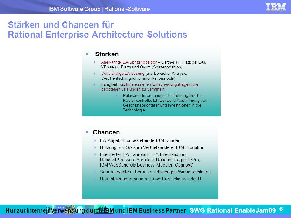 IBM Software Group   Rational-Software SWG Rational EnableJam09 6 Nur zur internen Verwendung durch IBM und IBM Business Partner Stärken und Chancen für Rational Enterprise Architecture Solutions Stärken Anerkannte EA-Spitzenposition – Gartner (1.
