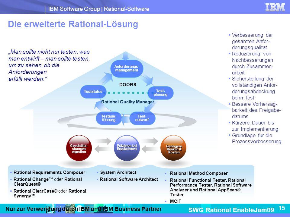 IBM Software Group | Rational-Software SWG Rational EnableJam09 15 Nur zur Verwendung durch IBM und IBM Business Partner Die erweiterte Rational-Lösung Man sollte nicht nur testen, was man entwirft – man sollte testen, um zu sehen, ob die Anforderungen erfüllt werden.