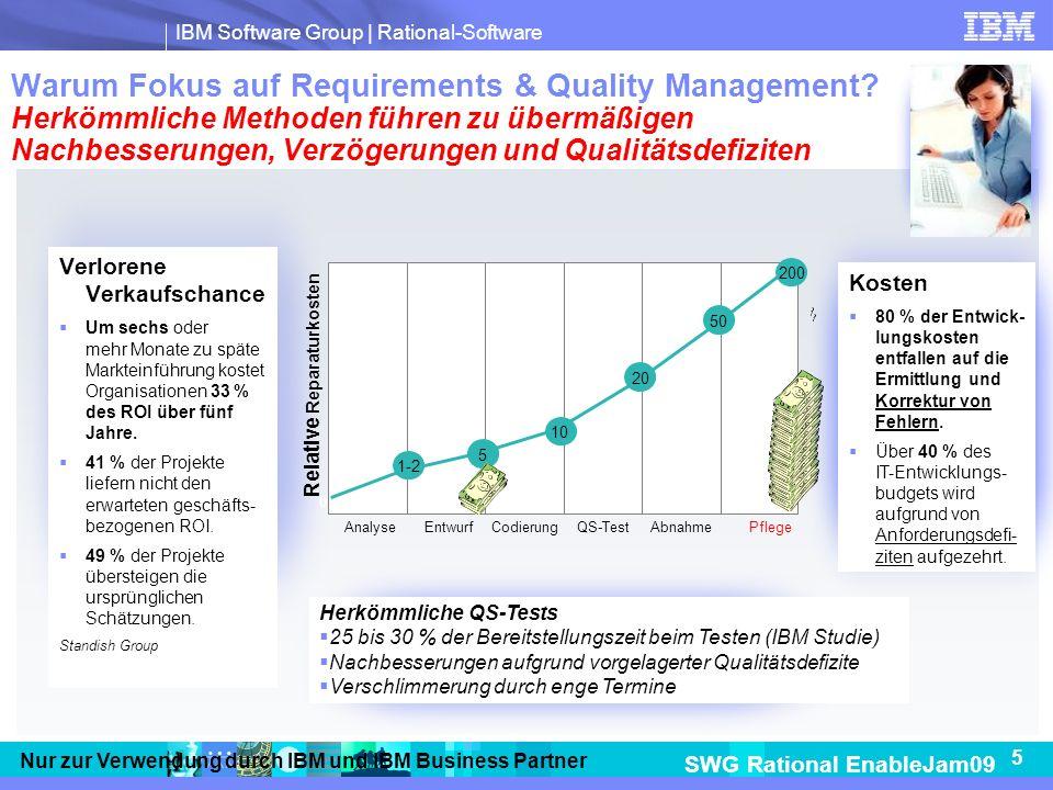 IBM Software Group | Rational-Software SWG Rational EnableJam09 5 Nur zur Verwendung durch IBM und IBM Business Partner Warum Fokus auf Requirements & Quality Management.
