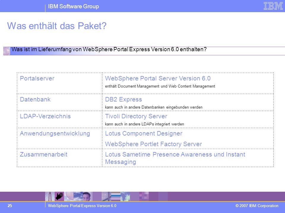 IBM Software Group WebSphere Portal Express Version 6.0 © 2007 IBM Corporation 25 Was enthält das Paket? PortalserverWebSphere Portal Server Version 6