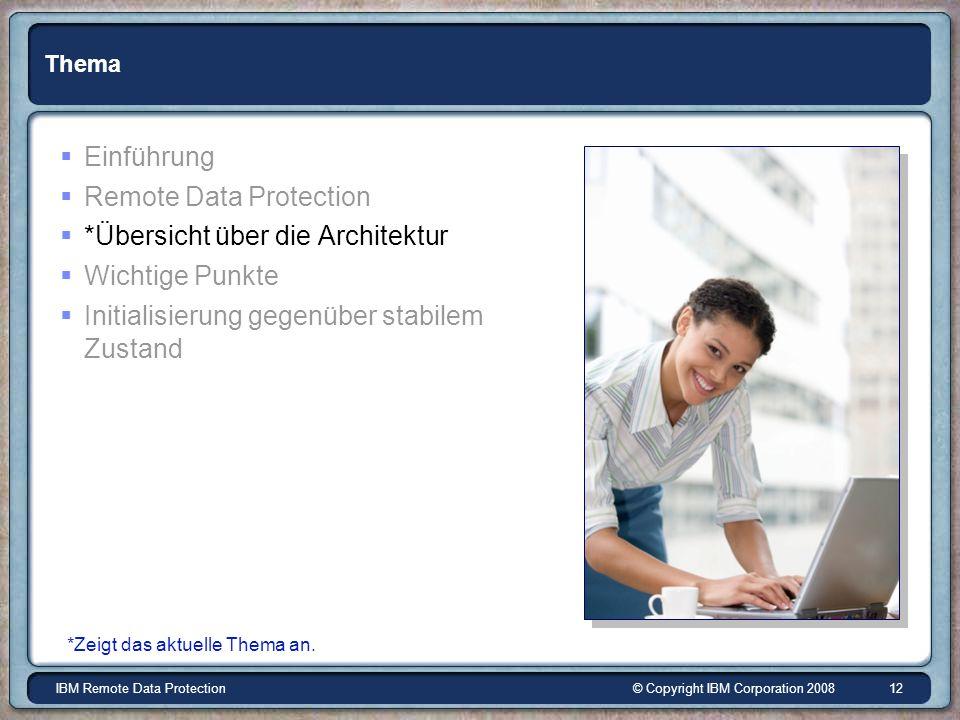 © Copyright IBM Corporation 2008IBM Remote Data Protection 12 Thema Einführung Remote Data Protection *Übersicht über die Architektur Wichtige Punkte Initialisierung gegenüber stabilem Zustand *Zeigt das aktuelle Thema an.