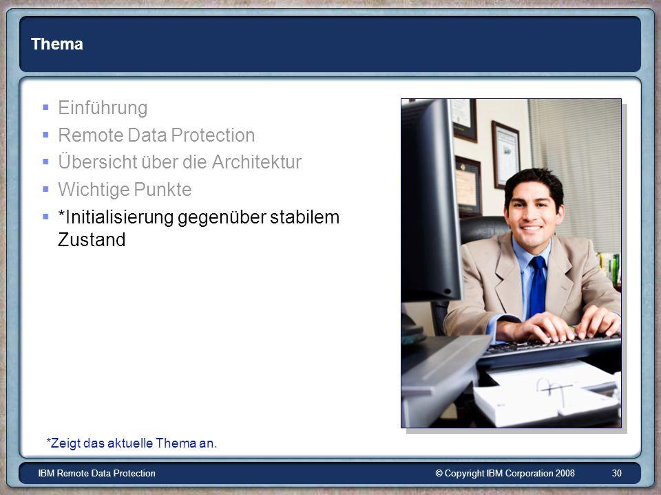 © Copyright IBM Corporation 2008IBM Remote Data Protection 30 Thema Einführung Remote Data Protection Übersicht über die Architektur Wichtige Punkte *Initialisierung gegenüber stabilem Zustand *Zeigt das aktuelle Thema an.