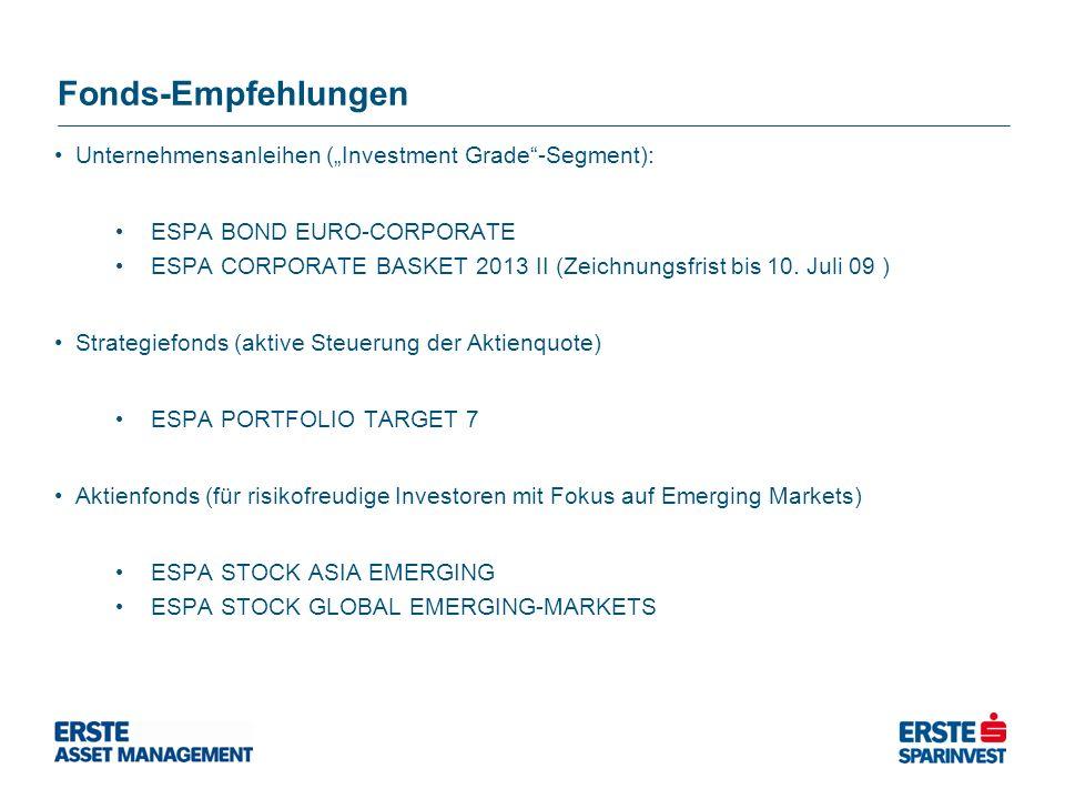Fonds-Empfehlungen Unternehmensanleihen (Investment Grade-Segment): ESPA BOND EURO-CORPORATE ESPA CORPORATE BASKET 2013 II (Zeichnungsfrist bis 10. Ju