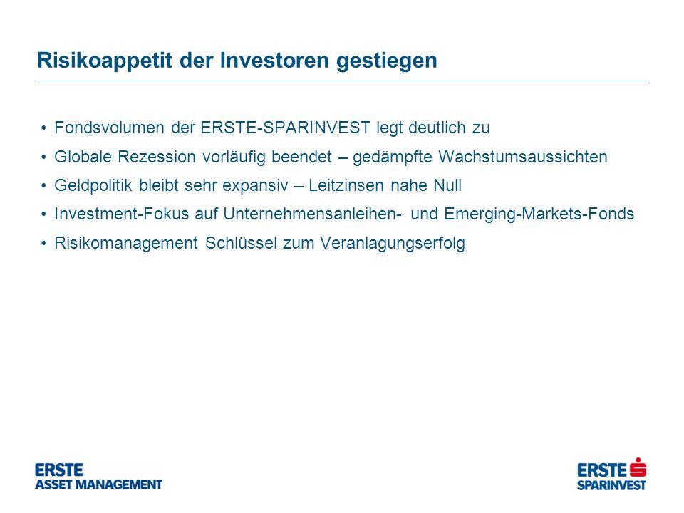 Risikoappetit der Investoren gestiegen Fondsvolumen der ERSTE-SPARINVEST legt deutlich zu Globale Rezession vorläufig beendet – gedämpfte Wachstumsaus