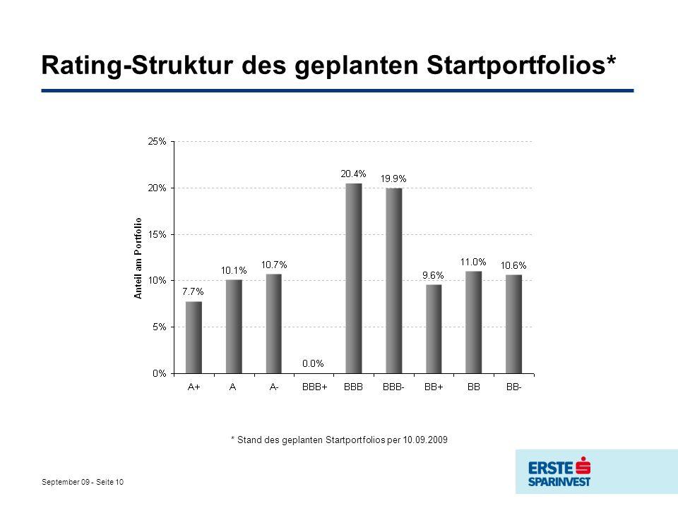 September 09 - Seite 10 Rating-Struktur des geplanten Startportfolios* * Stand des geplanten Startportfolios per 10.09.2009
