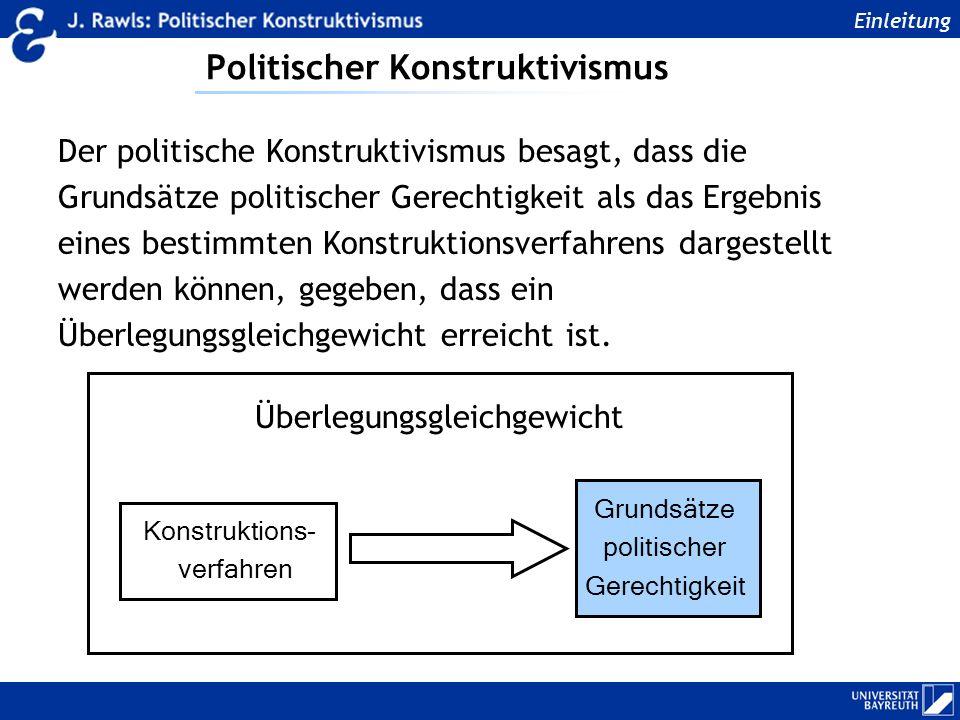 Politischer Konstruktivismus Der politische Konstruktivismus besagt, dass die Grundsätze politischer Gerechtigkeit als das Ergebnis eines bestimmten K