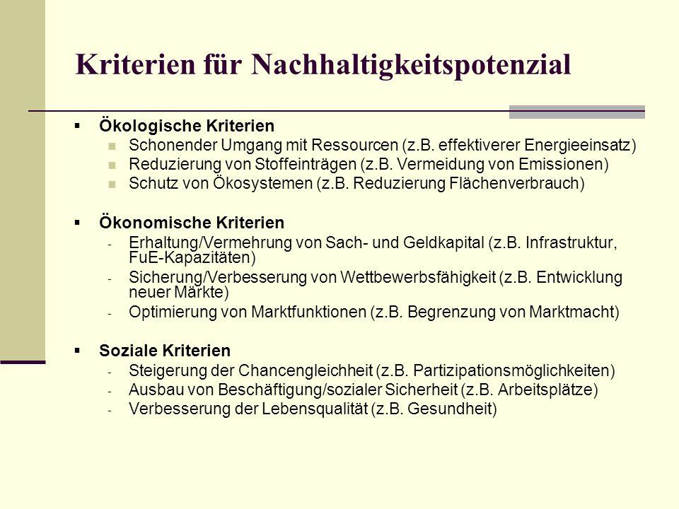 Kriterien für Nachhaltigkeitspotenzial Ökologische Kriterien Schonender Umgang mit Ressourcen (z.B. effektiverer Energieeinsatz) Reduzierung von Stoff