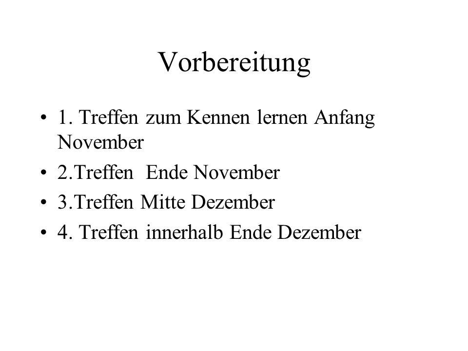 Vorbereitung 1. Treffen zum Kennen lernen Anfang November 2.Treffen Ende November 3.Treffen Mitte Dezember 4. Treffen innerhalb Ende Dezember