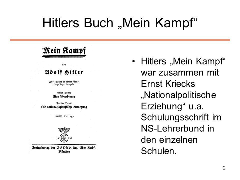 3 Bedeutung und Wirkung von Mein Kampf in der Lehrerschaft Hitler als Person ist nicht so wichtig, aber: Zentrale Passagen wurden immer und immer wieder in der Presse zitiert.