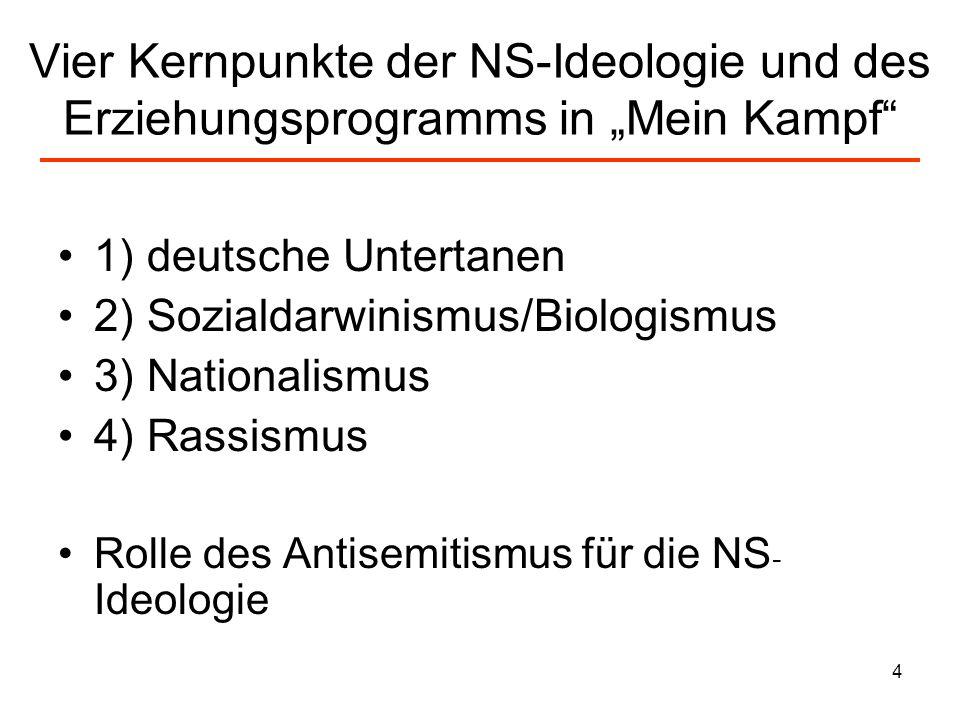 5 1) Der deutsche Untertan:nicht mehr frei…, aber glücklich Wenn Hitler über Erziehung spricht, fällt zunächst auf, dass er Begriffe wählt wie hineinhämmern,hineinbrennen, heranzüchten.