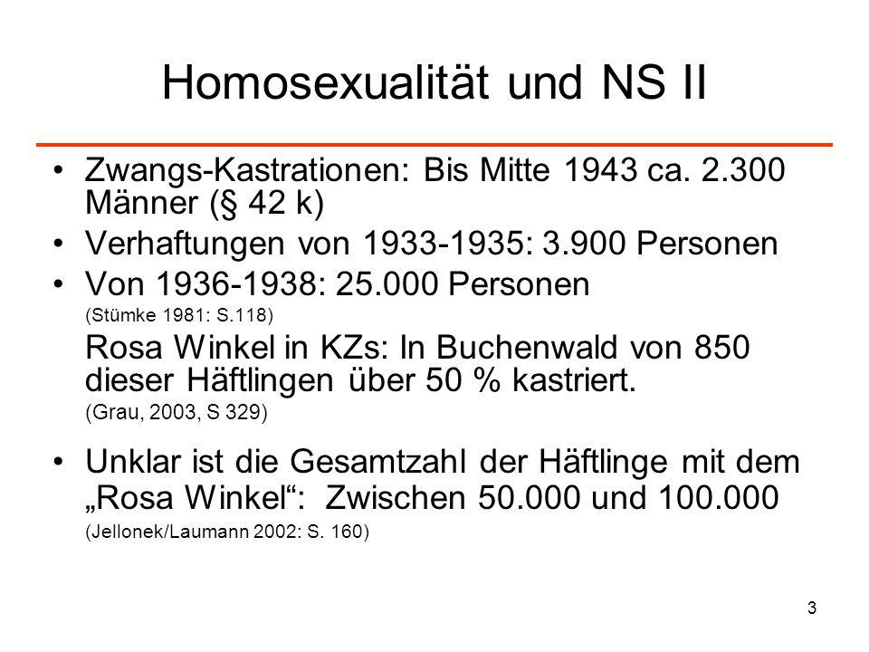 3 Homosexualität und NS II Zwangs-Kastrationen: Bis Mitte 1943 ca. 2.300 Männer (§ 42 k) Verhaftungen von 1933-1935: 3.900 Personen Von 1936-1938: 25.