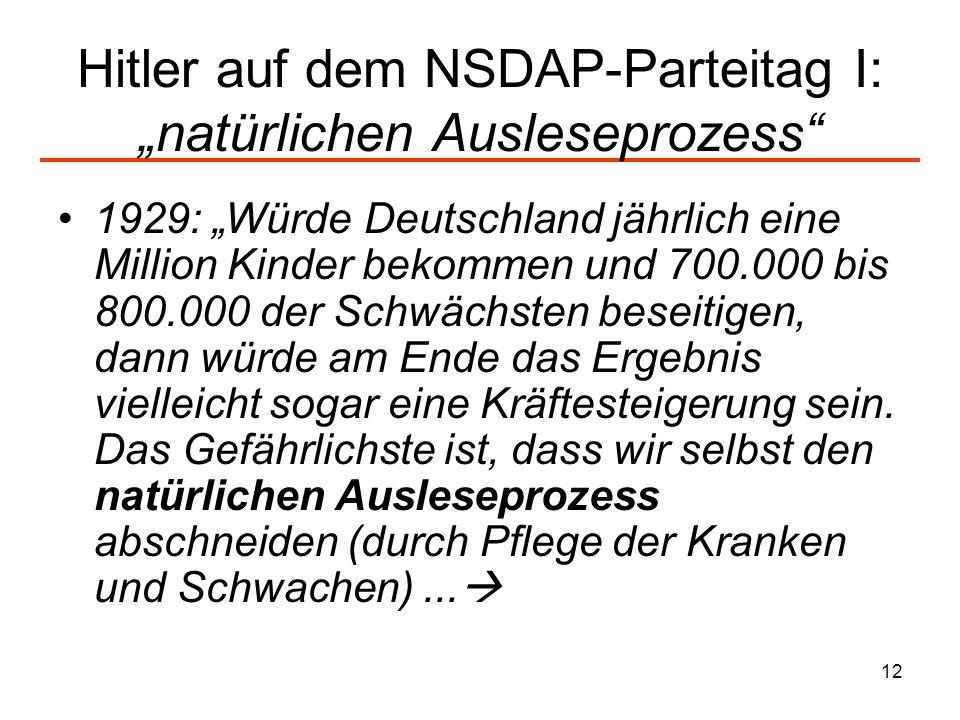 12 Hitler auf dem NSDAP-Parteitag I: natürlichen Ausleseprozess 1929: Würde Deutschland jährlich eine Million Kinder bekommen und 700.000 bis 800.000