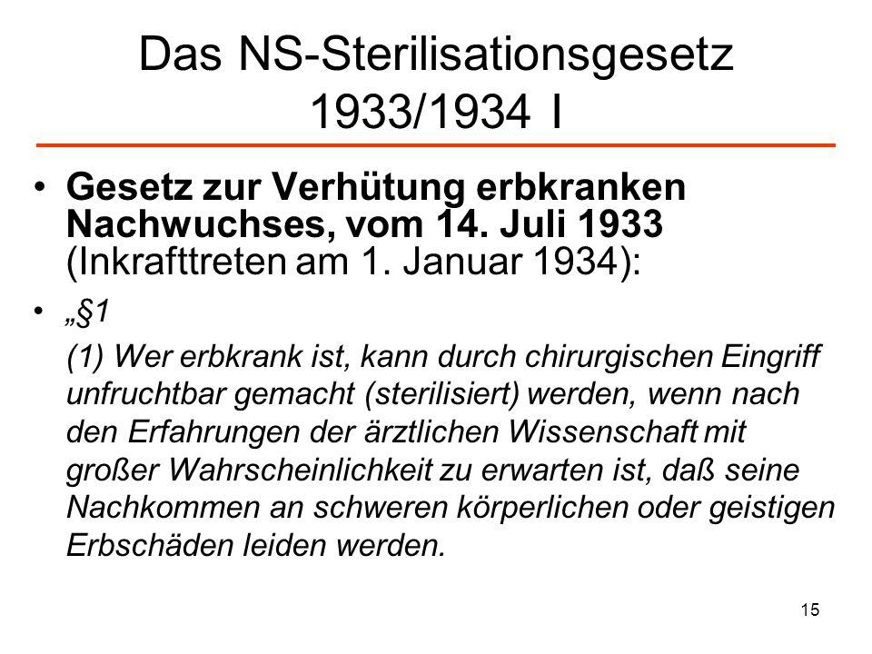 15 Das NS-Sterilisationsgesetz 1933/1934 I Gesetz zur Verhütung erbkranken Nachwuchses, vom 14. Juli 1933 (Inkrafttreten am 1. Januar 1934): §1 (1) We