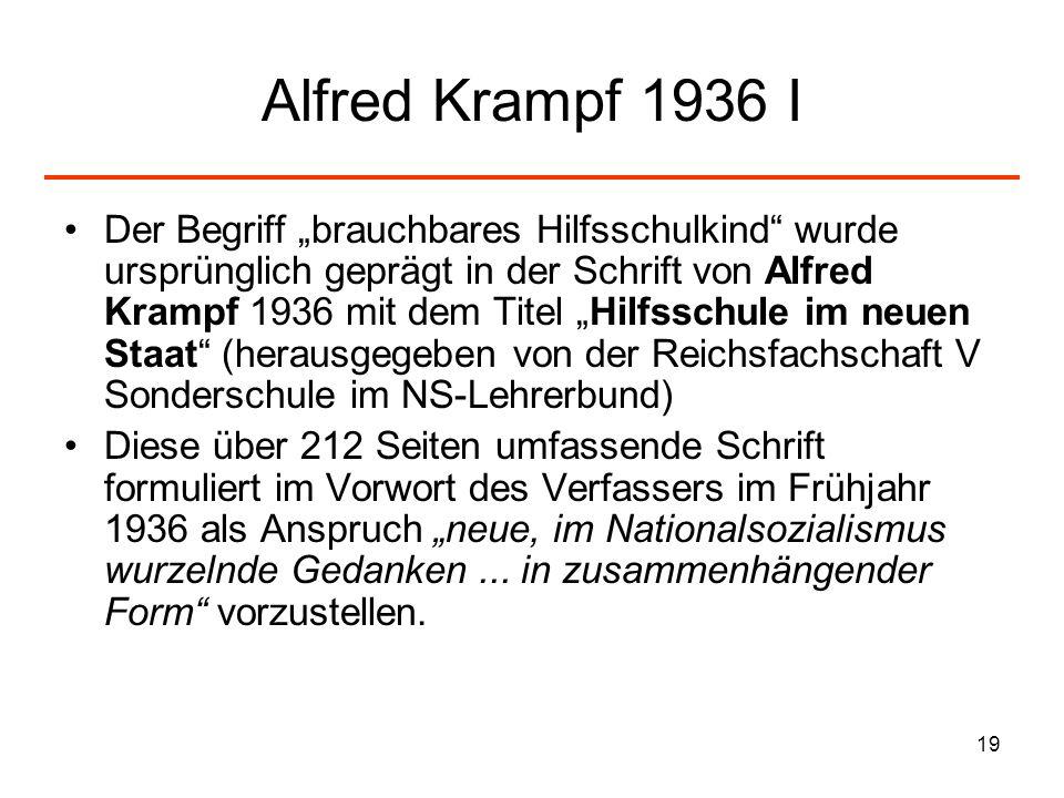 19 Alfred Krampf 1936 I Der Begriff brauchbares Hilfsschulkind wurde ursprünglich geprägt in der Schrift von Alfred Krampf 1936 mit dem Titel Hilfssch