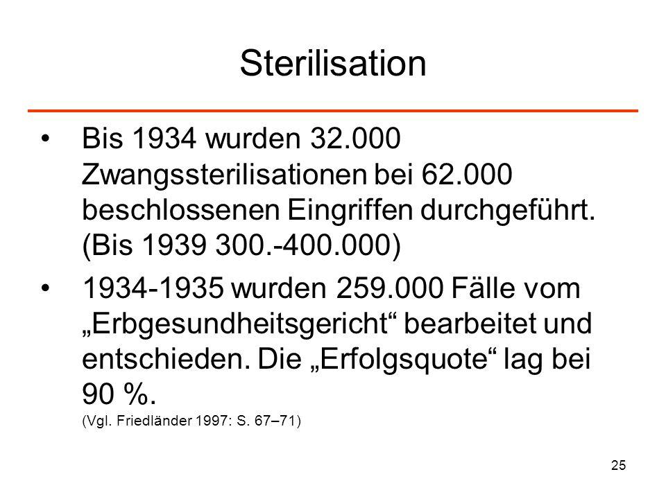 25 Sterilisation Bis 1934 wurden 32.000 Zwangssterilisationen bei 62.000 beschlossenen Eingriffen durchgeführt. (Bis 1939 300.-400.000) 1934-1935 wurd