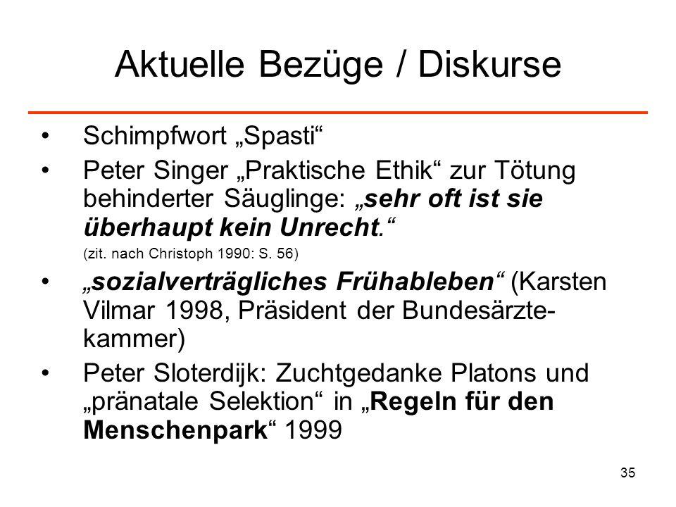 35 Aktuelle Bezüge / Diskurse Schimpfwort Spasti Peter Singer Praktische Ethik zur Tötung behinderter Säuglinge: sehr oft ist sie überhaupt kein Unrec