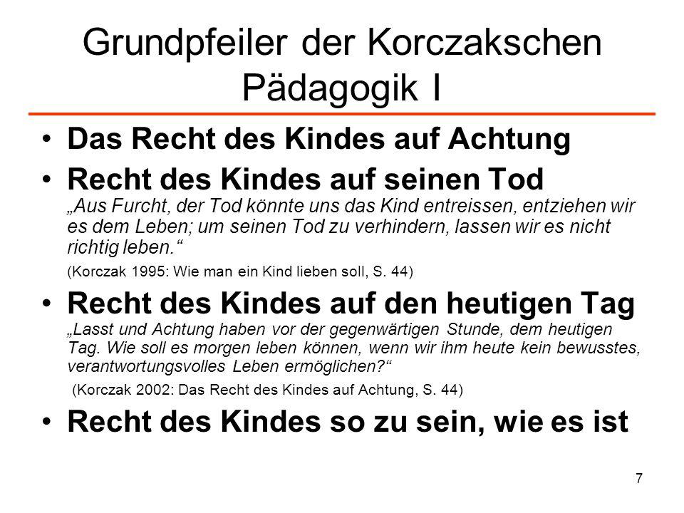 8 Grundpfeiler der Korczakschen Pädagogik II Recht des Kindes auf Mittelmässigkeit Recht des Kindes auf demokratische Institutionen für das Gemeinschaftsleben: Parlament, Kollegialgericht, Privateigentum, öffentliche Meinungsäußerungen etc.