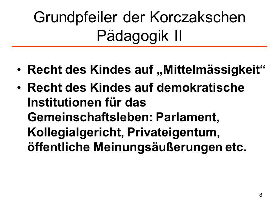 8 Grundpfeiler der Korczakschen Pädagogik II Recht des Kindes auf Mittelmässigkeit Recht des Kindes auf demokratische Institutionen für das Gemeinscha