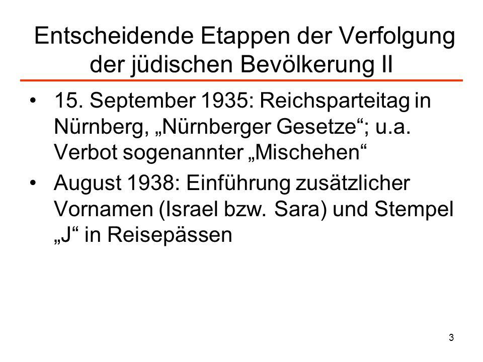 3 Entscheidende Etappen der Verfolgung der jüdischen Bevölkerung II 15. September 1935: Reichsparteitag in Nürnberg, Nürnberger Gesetze; u.a. Verbot s