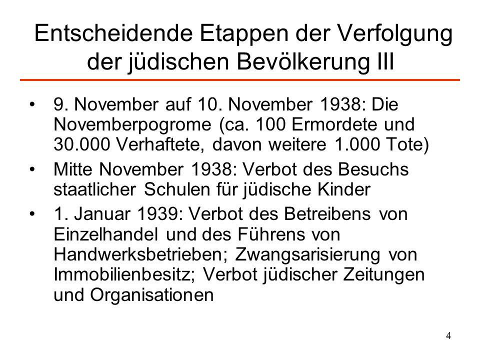 4 Entscheidende Etappen der Verfolgung der jüdischen Bevölkerung III 9. November auf 10. November 1938: Die Novemberpogrome (ca. 100 Ermordete und 30.