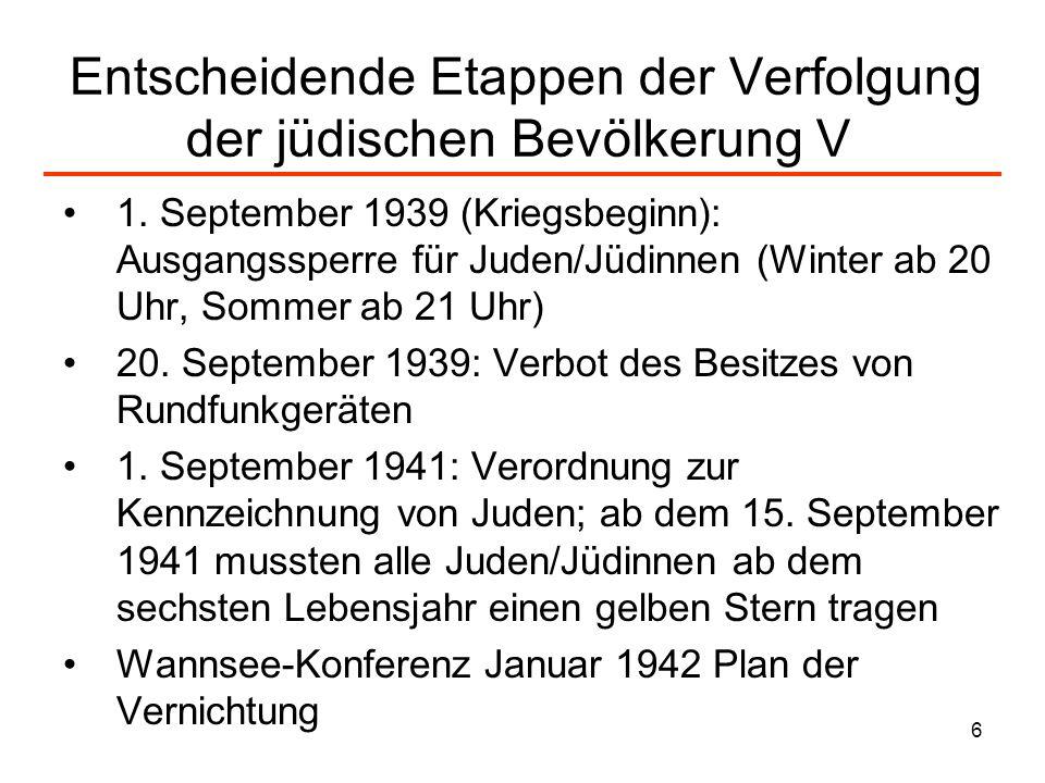6 Entscheidende Etappen der Verfolgung der jüdischen Bevölkerung V 1. September 1939 (Kriegsbeginn): Ausgangssperre für Juden/Jüdinnen (Winter ab 20 U