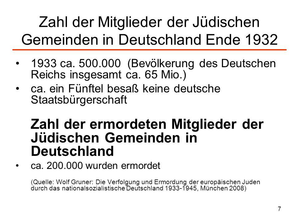 7 Zahl der Mitglieder der Jüdischen Gemeinden in Deutschland Ende 1932 1933 ca. 500.000 (Bevölkerung des Deutschen Reichs insgesamt ca. 65 Mio.) ca. e